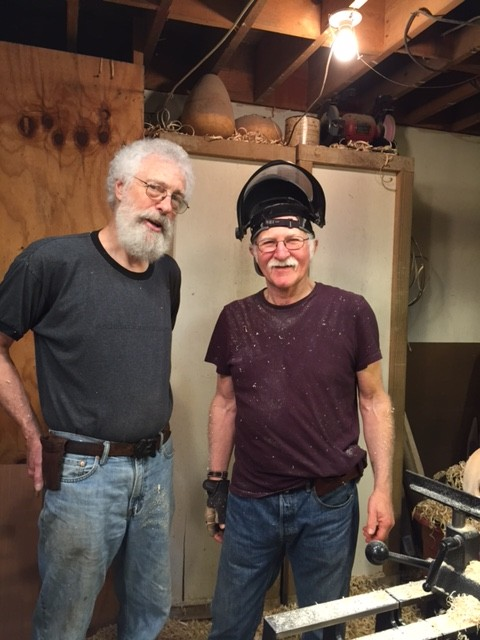 David Ellsworth and Mike Snegg at David's workshop in Quaker town PA.